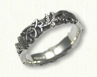 Sterling Silver Celtic Thistle and Triangle Knot Band  5.0 mm width- Sculpted and Antiqued