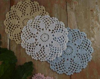 "4Pieces Hand crochet doilies Round Coasters 15CM/6"" White Doily Wedding Table Decor Home decor"
