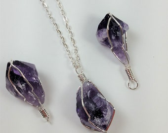 Purple Amethyst - Cage Pendant - 18'' Silver Necklace