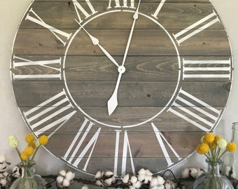 Big Wall Clock The Rae Roman Numeral Farmhouse