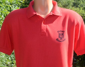 vintage 80 polo golf shirt OXFORD university england red Medium Large flock