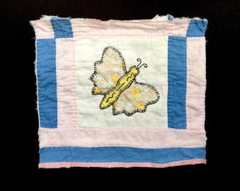 Sweet Antique Butterfly Quilt Square for Project