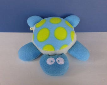 Turtle:  Blue, Light Gray, Blue with Lime Green Spots