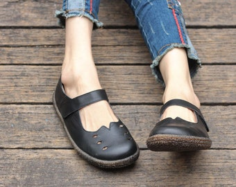 Handmade Black Soft Flat Shoes, Black Strap Sandals, Oxford Women Shoes, Retro Leather Shoes, Casual Shoes,Slip Ons,Loafers
