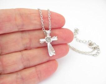 Vintage Cross Rhinestone Necklace Slider Pendant Silvertone Dainty Christian Jewelry Religious Petite