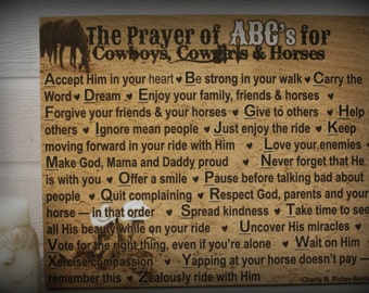 "16"" x 20"" Wrapped Canvas of ""The Prayer of ABC's for Cowboys, Cowgirls & Horses"" - Beautiful Art for Any Little Cowboy's or Cowgirl's Room!"