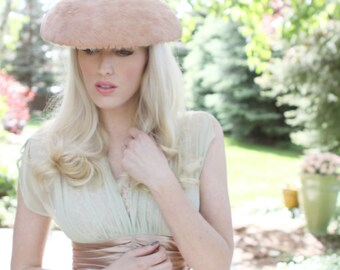 "Vintage Feather ""Mushroom"" Hat / Blush Colored / Fascinator / Formal Hat / Hair Accessories / One Size"