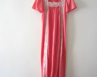 1960s Coral Nightgown with Ivory  Lace - LeVoy's Full Length