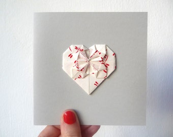 Origami heart card red dragonfly