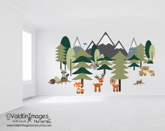 Large Forest Wall Decal, Nursery Rustic Decor, Woodland Nursery Decor, Tree Wall  Decal