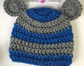 Newborn bear hat.. gray and blue... photography prop... ready to ship.. newborn boy beanie