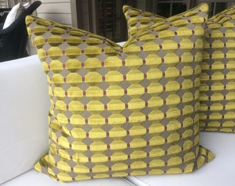 ZOFFANY-Abacus in gold (chartreuse) mosaic cut velvet pillow covers