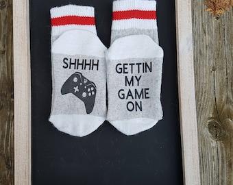 "Shhh getting my game on"" Xbox sock, kids socks, work socks, socks with sayings, Valentines days, winter, birthday, Novelty, wool socks, kids"
