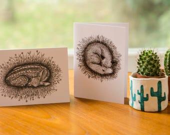 Sleeping Fox and Deer Greetings Cards