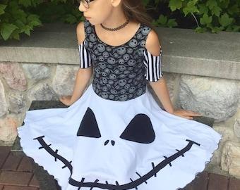 Jack cold shoulder Skeleton Halloween Dress Jack Skellington inspired Nightmare before Christmas girls