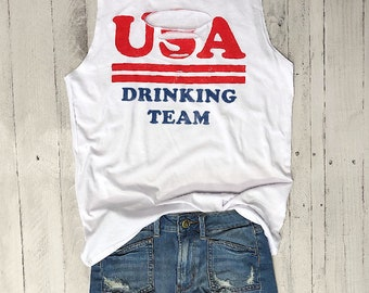 USA Drinking Team... Laser Cut Out Front Muscle Tee,July 4th, Red White,  Star Spangled, Flag, Stars Stripes