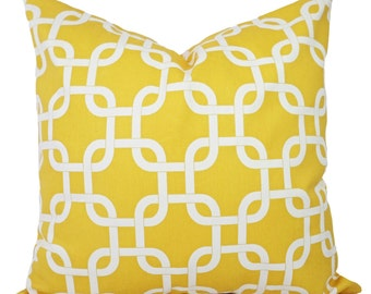 Two Decorative Throw Pillow Covers - Yellow Pillow Cover - Yellow Throw Pillow - Yellow Couch Pillow - 12x16 16x16 18x18 20x20 24x24 26x26