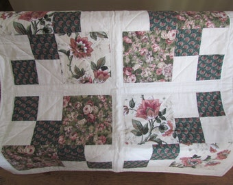 Baby Quilt, Baby Girl Blanket, Pieced Floral Baby Quilt, Pink Floral Baby Quilt