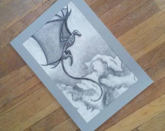 Dragon Flying in the Clouds - Charcoal Wall Art