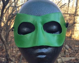 READY TO SHIP Green Mask - Long Nose Superhero Mask - Molded Leather Mask - Superhero Comic Costume