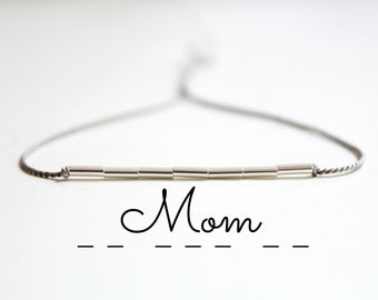 Mom Morse Code Bracelet Minimalist Silk Cord Bracelet Mother Bracelet New Mom Gift Thin Sterling Silver Beaded Bracelet Mother's Day Gift