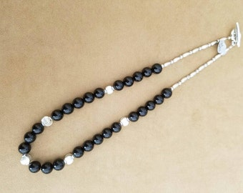 Black Tourmaline and Pewter Necklace