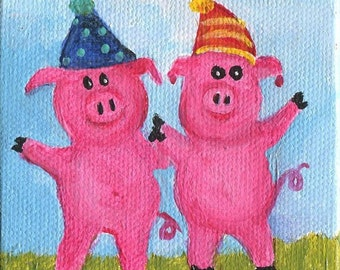 Party Pigs painting, Original mini painting, Canvas, Easel, acrylic mini canvas art, cute pig art, pig artwork,  Farmhouse Decor