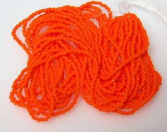 Charlotte True-Cut Opaque Orange 13/0 Czech Glass Micro Seed Beads