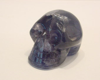 Purple / Aqua Fluorite Stone Skull, Human shaped, Carved and Highly Polished vr77