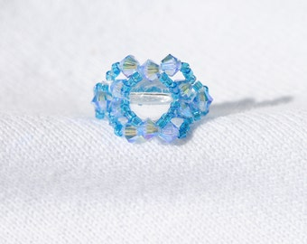 Crystal  Ring.  Blue /Teal  Handmade   Size 4