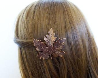 Autumn Wedding Accessories Maple Leaf Barrette Bridal Hair Clip Bride Bridesmaid Rustic Fall Woodland Forest Elf Garden Womens Gift For Her