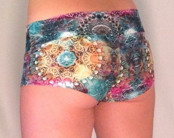 Psychedelic Fractal Women's Booty Shorts // Sacred Geometry Pole & Yoga Shorts // Perfect for Burning Man Festival