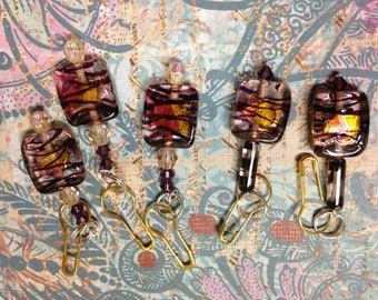 Set of Convertible Knitting and Crochet Stitch Markers in Glass Violet