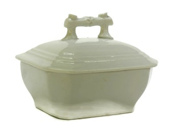 Antique White Porcelain Soap Dish with Lid.