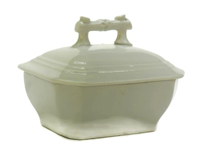Antique White Porcelain Soap Dish with Lid.
