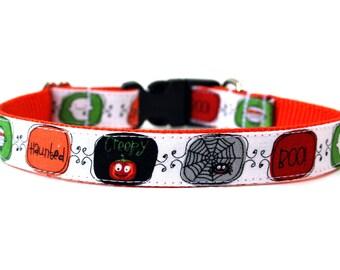 """Halloween Dog Collar 3/4"""" or 1"""" Pumpkin Dog Collar"""