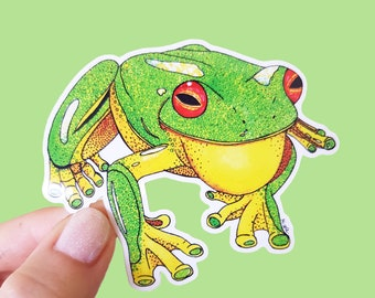 Vinyl Green Tree Frog Sticker - Animal Sticker, Waterproof Sticker, Frog Decal, Laptop Sticker, Tablet Sticker