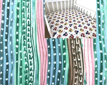 Aqua Pink Cactus Fitted Sheet Crib Toddler Bedding Flat Fitted Sheet Aztec Nursery Changing Pad Cover Mini Crib Twin Full Sheet