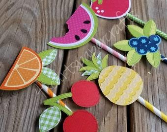 Fruit Cupcake Toppers, Two-tti Fruitti Theme, Tutti Fruitti
