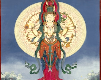 TIbetan Buddhist Thangka thanka tanka deity giclee print Bodhisattva Mantra Guanyin QuanYin 1,000 Armed Avalokiteshvara God of Compassion