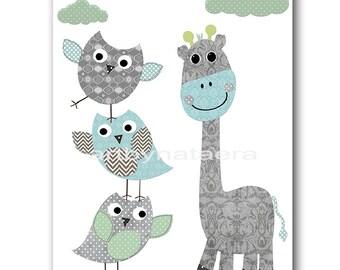 Giraffe Nursery Print Printable Art Nursery Digital Download Children Art Baby Boy Nursery Digital Download Art 8x10 11X14 INSTANT DOWNLOAD