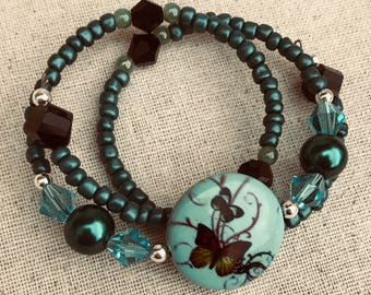 Turquoise and Black Butterfly Bracelet / Turquoise Boho Butterfly Wrap Around Bracelet / Clasp Free Easy to wear Butterfly Bracelet