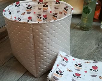 """12 pretty wipes/cotton washable and their basket """"boudoir and spice"""""""