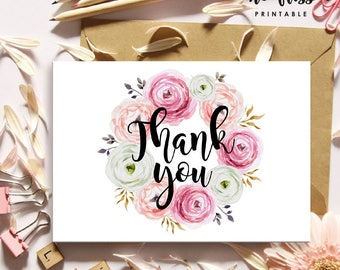 Watercolor Flower Thank You Card | Printable Instant Download