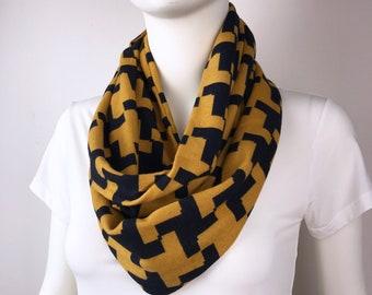 Yellow black Infinity tube scarf Knit jersey Infinity tube scarf  cowl scarf circle scarf