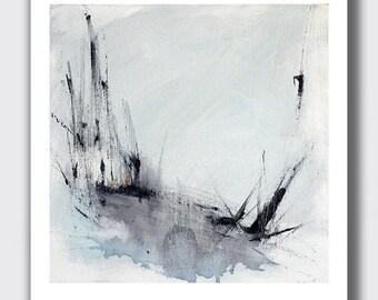 "8x10 Gray Abstract Landscape Print, 10""H x 8""W Print, Gray Art, Wall Decor, Winter Landscape, Black and White Art"