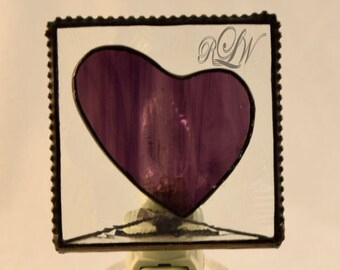Nite Lite, Glass with Heart Motif - Personalized/Monogrammed - UV Printed