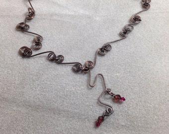 Altered copper hand formed & hammered necklace