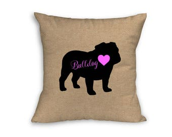 "Pink Bulldog Pillow Cover, Pillow Cover, Bulldog Pillow Cover, 18"" x 18"" Zip Pillow Cover"