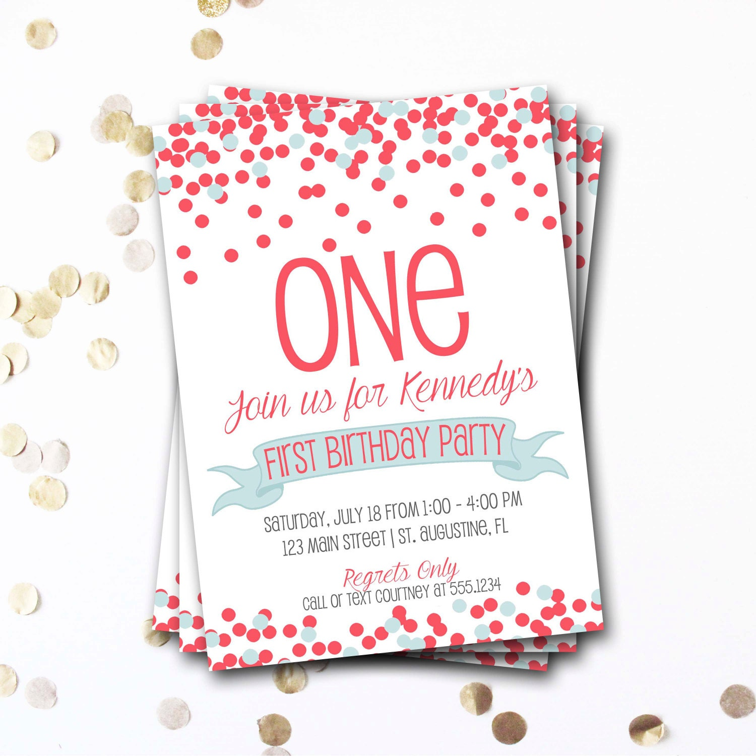 Confetti birthday invitation coral blue birthday invitation confetti birthday invitation coral blue birthday invitation confetti invite 1st birthday neutral birthday girl birthday diy printable filmwisefo